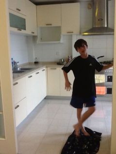 Alex in the kitchen-a usual site.
