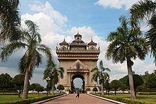 The Arc de Triumph of Vientiane, but all Laotian in style.
