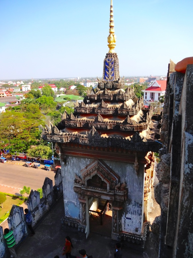 Looking down from the top of the arch, Patuxai memorial in Vientiane, Laos