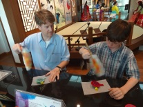 Making Korean arts and crafts.