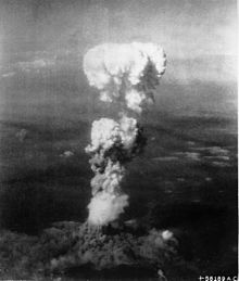 "A photo taken from the Enola Gay seconds after ""Little Boy"" is dropped,: a mushroom cloud rises high above Hiroshima on August 6, 1945."