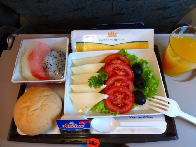 As much as people complain about bad food on airplanes, the possible trick is going vegetarian.  I have enjoyed nearly ever meal in the 31 flights this year as evidenced by this look at a meal on Vietnam Airlines.  Another perk: Special meals get served first!