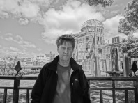 Kevin at the Peace Park in Hiroshima near the Atom Bomb Dome building.