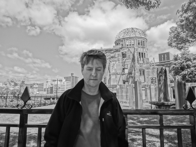 Kevin in Hiroshima near the Atom Bomb Dome building.