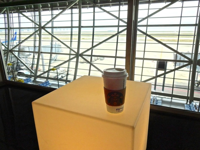 After the customary treat from Starbucks, free wi-fi, the lounge chairs and lighted cube end tables overlooking Osaka make layovers a breeze.
