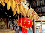 A traditional Ming-era house in Guilin is decorated with hanging paper lanterns and drying corn-both practical and decorative.