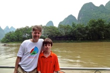 Kevin & Alex on a four hour boat trip down the Li River in southeast China.
