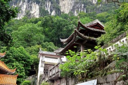 A Buddhist temple sits above the Li River near the main tour boat docks in Yangshuo.