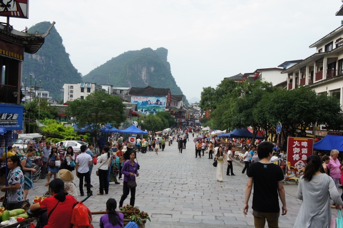 The main street in Yangshu, selling everything from local hot chili sauce and dragon fruit to KFC.