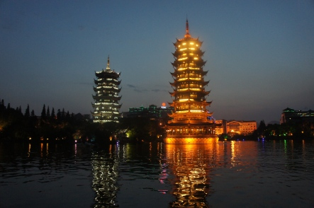 The Moon and Sun Pagodas at the edge of a lake in the middle of downtown Guilin lites up like Christmas every night for tourists and residents alike.