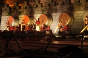 Gongs, drums, and traditional Chinese-stringed instruments are used in the nightly performances given on the shores of one of Guilin's many lakes. The performances are only visible on the tourist boats that circle the city's two rivers and four lakes.