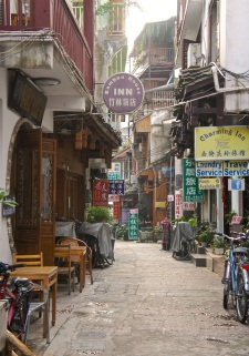 Narrow alleys in Yangshuo invite the backpackers and seasoned tourists to explore a more authentic China than some of the larger tourist centers like Beijing and Shanghai.