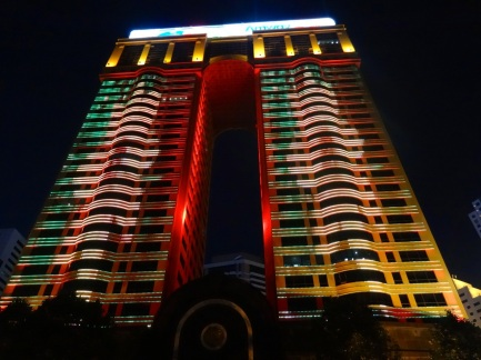 Many modern skyscrapers in China feature nightly LED lighting shows lasting until late in the evening.