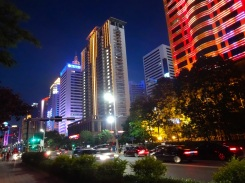 Xianggang Lu or Hong Kong Road, renamed in 1997 in honor of the British return of Hong Kong to China, lights up every night after sunset in central Qingdao.