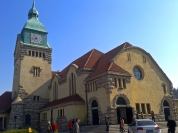 The Protestant Church in Qingdao with its stone and copper spire and clock face is over a century old and still has Sunday services, provided you have a foreign passport.
