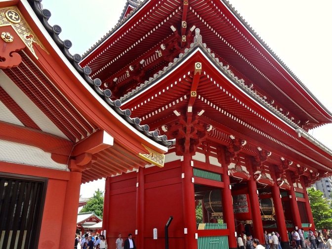 Senso-ji temple in the Asakusa neighborhood of Tokyo is a Buddhist temple built in 645 AD not far from the Sumida River.  Much of the temple complex-Torii gate, shrine, gardens and avenue of shops leading to the gate were destroyed during WWII and since rebuilt.