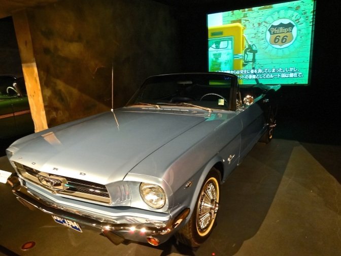 A  classic Ford Mustang on display at the Toyota exhibit of historic cars in Odaiba.