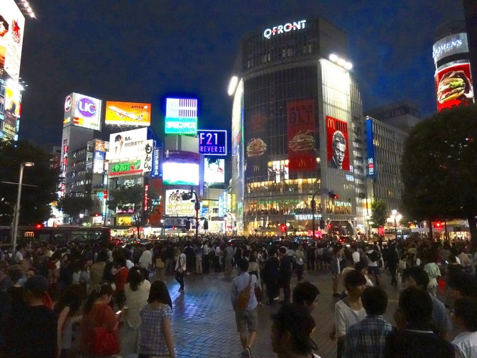 Shibuya Crossing, as featured in Sofia Coppala's, Lost in Translation with Bill Murray, is a mass of humanity-so much so that all motorized traffic stops in every direction  every three minutes to allow pedestrians to cross in a a dozen different directions at once.