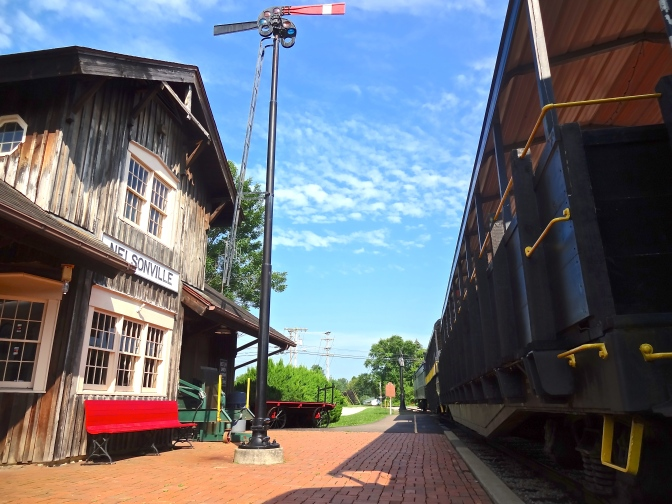 The Second Empire style Nelsonville rail depot and waiting station awaits summer passengers for the daily 20 mile roundtrip rides though the hills of southern Ohio.
