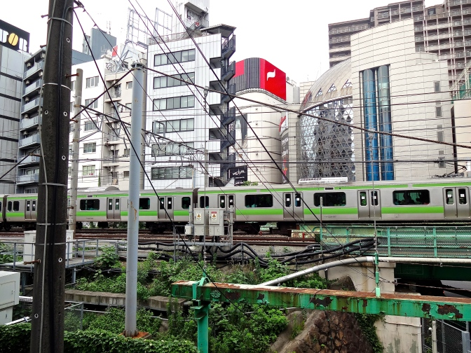 Elevated subway cars head into the final half mile to the world's busiest train station at Shibuya in central Tokyo.