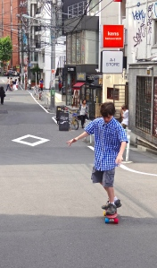 Alex take a long penny-board ride down the gentle hill and mostly pedestrian Cat Street near Shibuya.  Alex asked for a skateboard even before we moved to China, but finally got his wish after a visit from a skateboard shop on Cat Street.