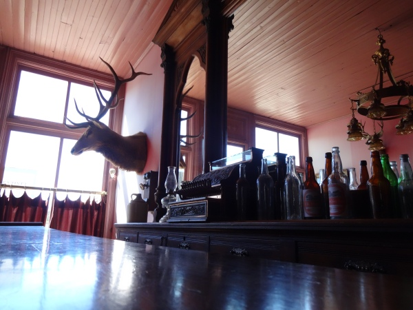 Hunting trophies loom over many of the public and private rooms in South Park City.