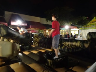 Alex prepares for the rotating arm of death on the Sarasota jump castle on New Year's Eve.